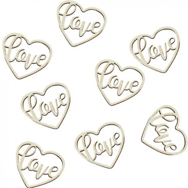 24 Love wood hearts scattered decoration
