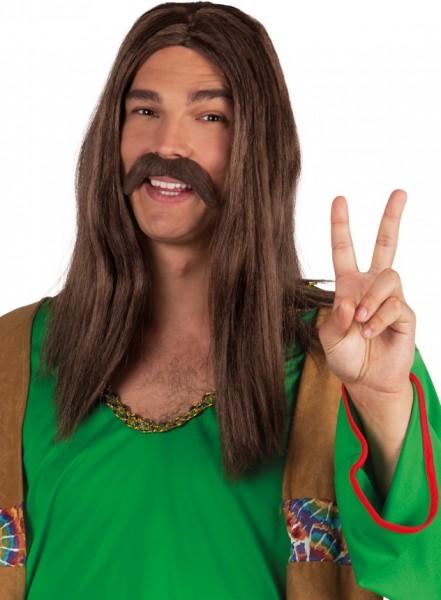Brauner Hippie Schnurrbart Holger