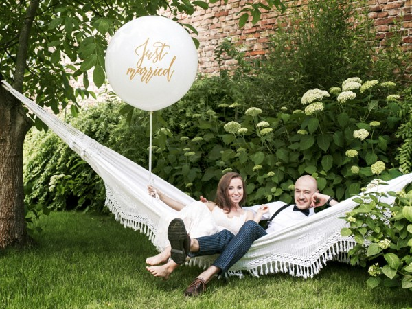 Ballon Just Married XL doré 1m