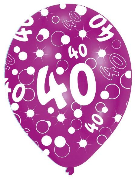 6 Luftballons Bubbles 40.Geburtstag Bunt 27,5cm 3
