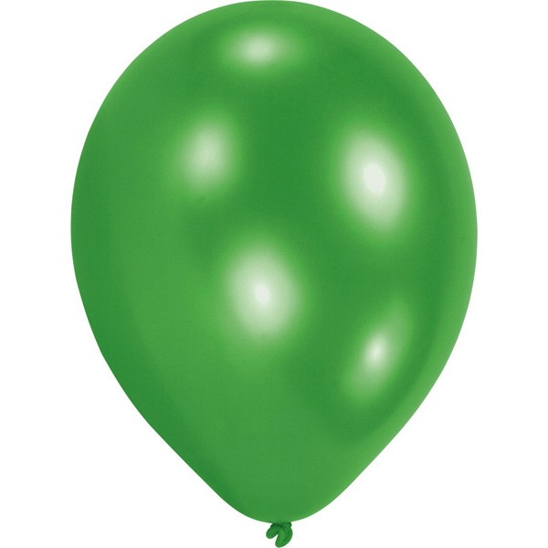 10 Latex Balloons Green 23cm