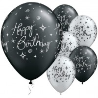 25 Swirly Birthday Latexballons schwarz silber 28cm