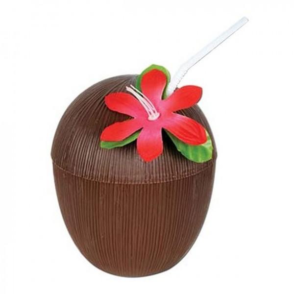 Kokosnød krus Luau med låg og drikke halm 530ml