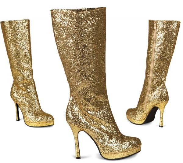 Glitzernde Disco Stiefel Gold