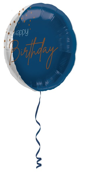 Happy Birthday Folienballon Elegant blue