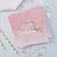 20 Birthday Blush Servietten 33cm