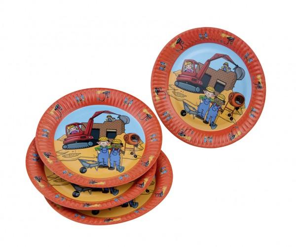 8er Pack Pappteller Baustelle Kindergeburtstag 23cm
