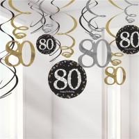 Strahlender 80. Geburtstag Hängedeko Spiralen 45cm