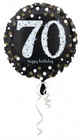 Golden 70th Birthday Folienballon 43cm