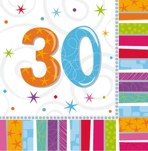 16 Bunte Regenbogen Servietten 30.Geburtstag