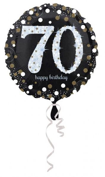 Ballon en aluminium doré 70e anniversaire 43cm