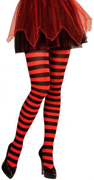 Schwarz-Rot Geringelte Strumpfhose