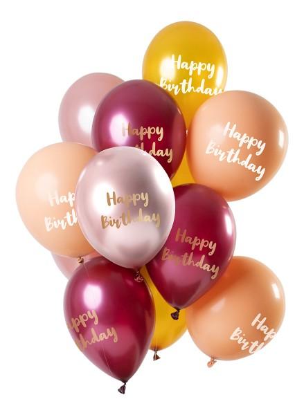 12 ballons en latex Happy BDay or rose
