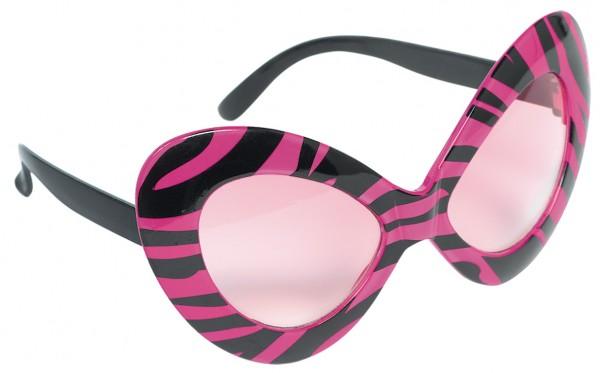 80er Jahre Hollywood Diva Brille Schwarz-Pink