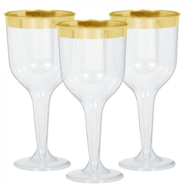 6 verres à vin en plastique avec bord doré 284ml