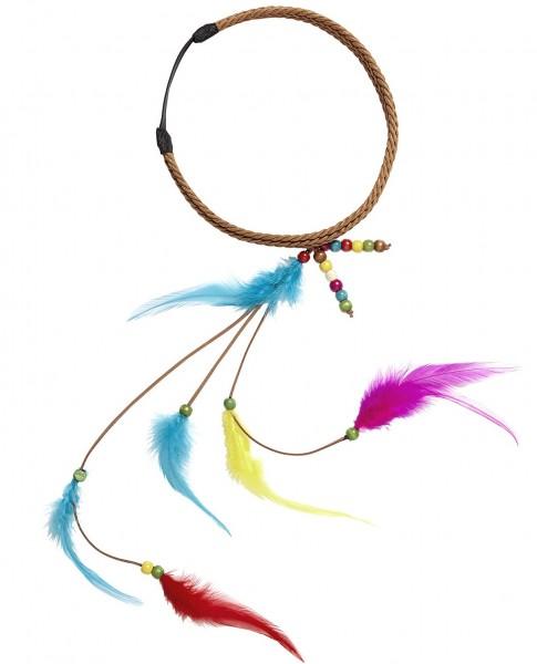 Hippie-Haarband mit Federn und Perlen