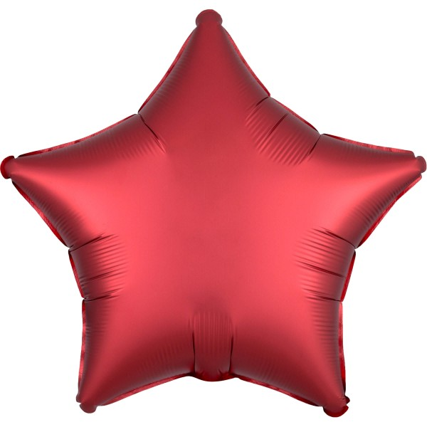 Noble satin star balloon ruby red 43cm