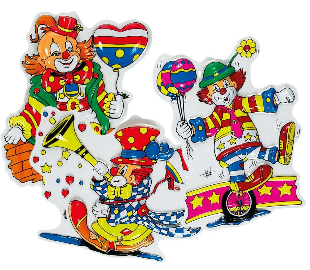 Lustige Clowns Wanddeko 3er Set