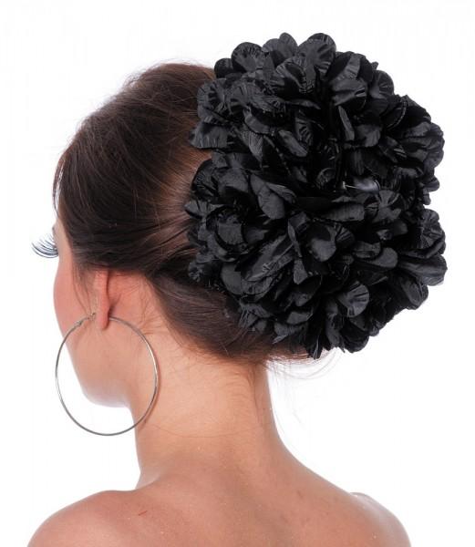 Schwarze Blumenbüschel Haarklammer