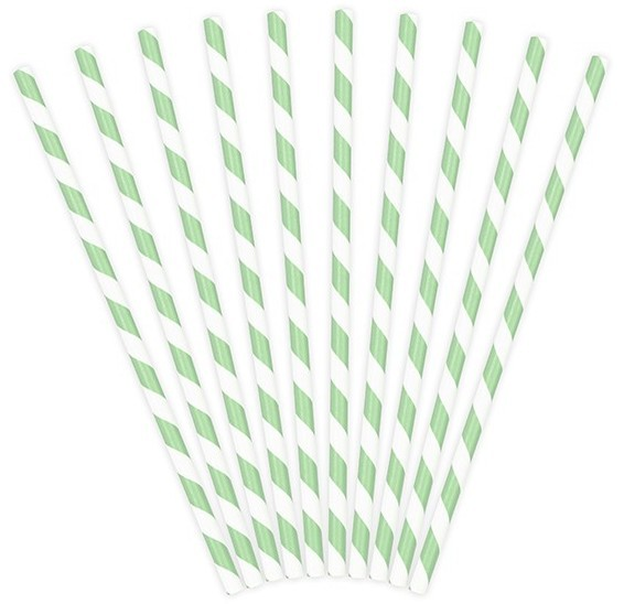 10 Striped Paper Straws Mint Green 19.5cm