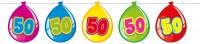Bunte Luftballongirlande zum 50. Geburtstag