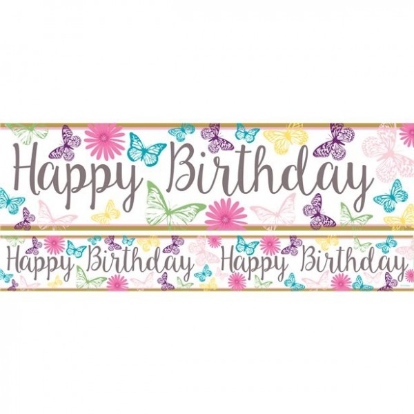 3 Süße Schmetterlinge Happy Birthday Banner 1m