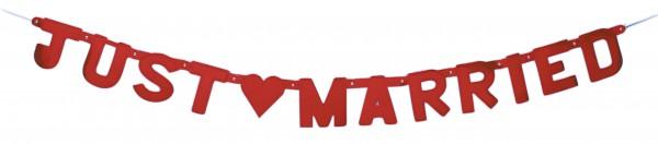 Romantische Just Married Herz Girlande Rot 150cm