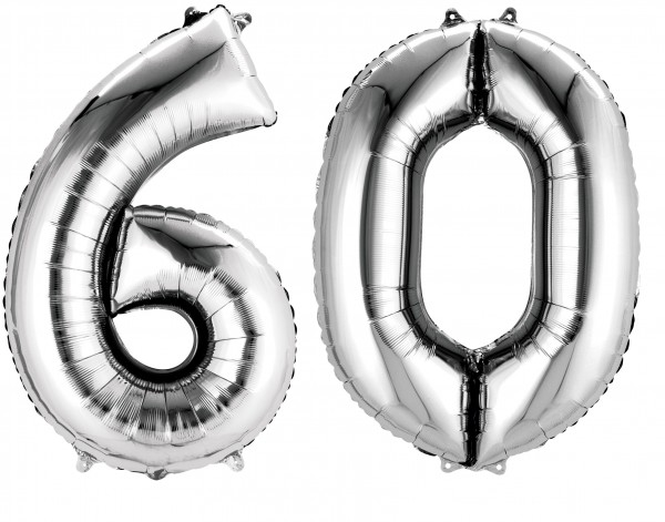 Foil balloon number 60 silver metallic 86cm