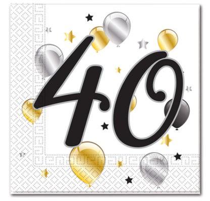 20 Goldene Milestone 40 Servietten
