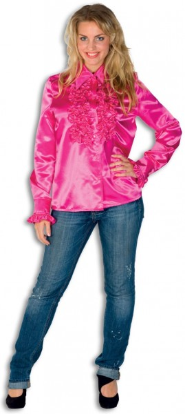 Disco ruffled blouse pink