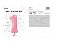 Zahl 1 Folienballon rosa 86cm