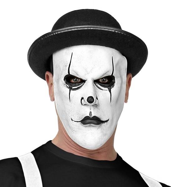 Weiße Harlekin Maske mit Hut
