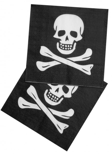 12 Piratenparty Totenkopf Servietten 33 x 33cm