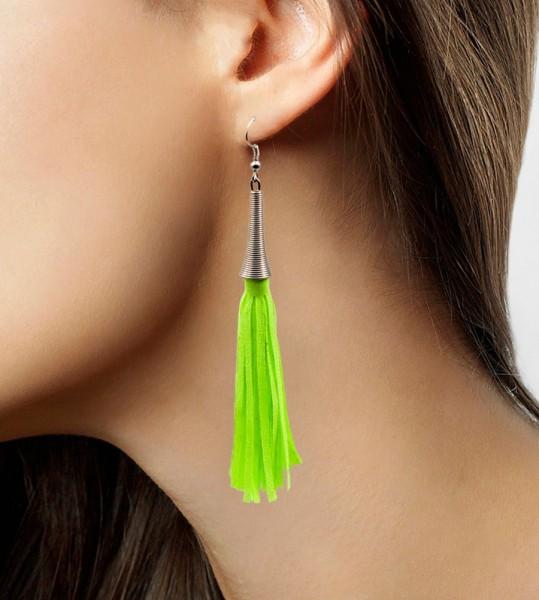 Neon Grüne Fransen Ohrringe