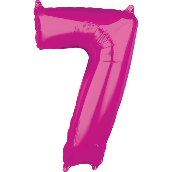 Globo foil numero 7 rosa 66cm