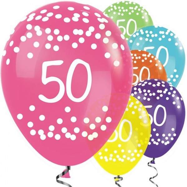 25 bunte 50. Geburtstags Ballons 30cm