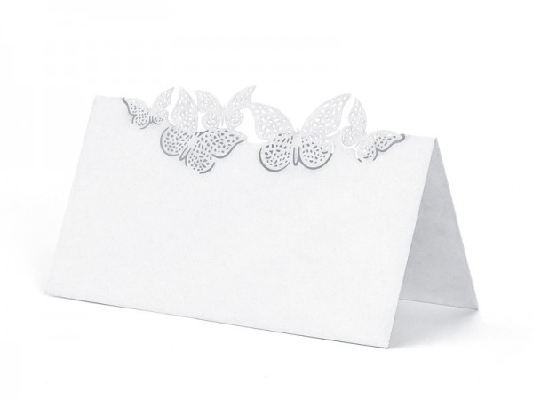 10 place cards with butterfly decor white
