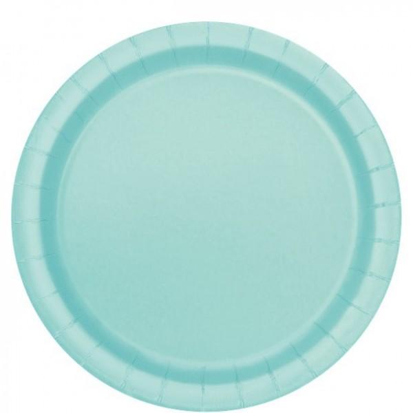 16 platos de papel verde menta 22cm