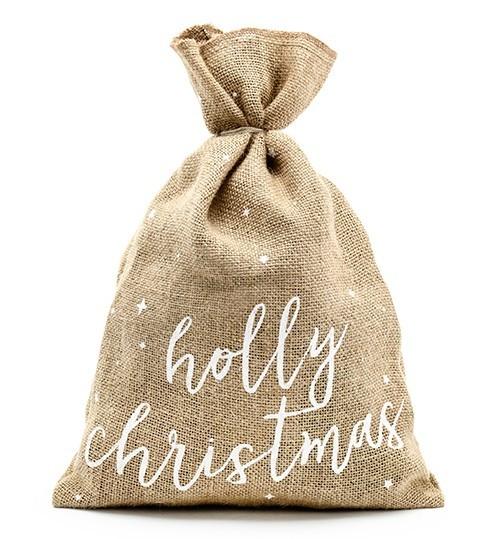 Saco de yute navideño Holly 30 x 42cm