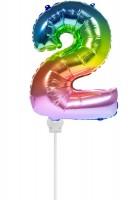 Regenbogen Zahl 2 Stabballon 36cm