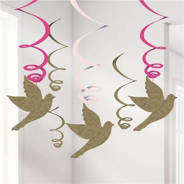 Decoración colgante remolino 6 palomas de la paz 60cm