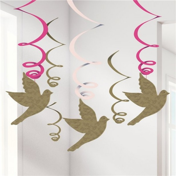 6 peace doves swirl hanging decoration 60cm