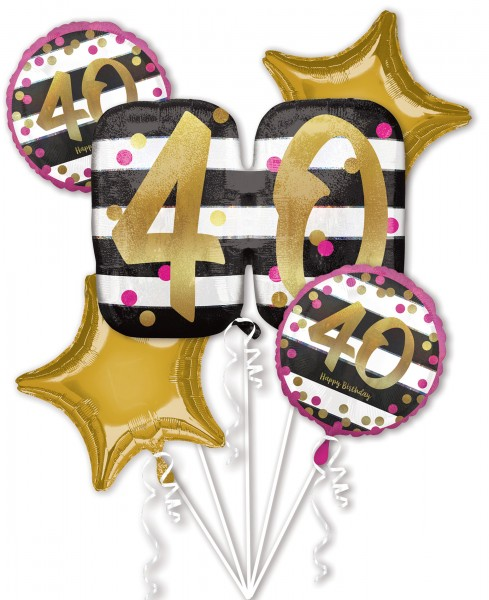 5 foil balloons 40th birthday as a set