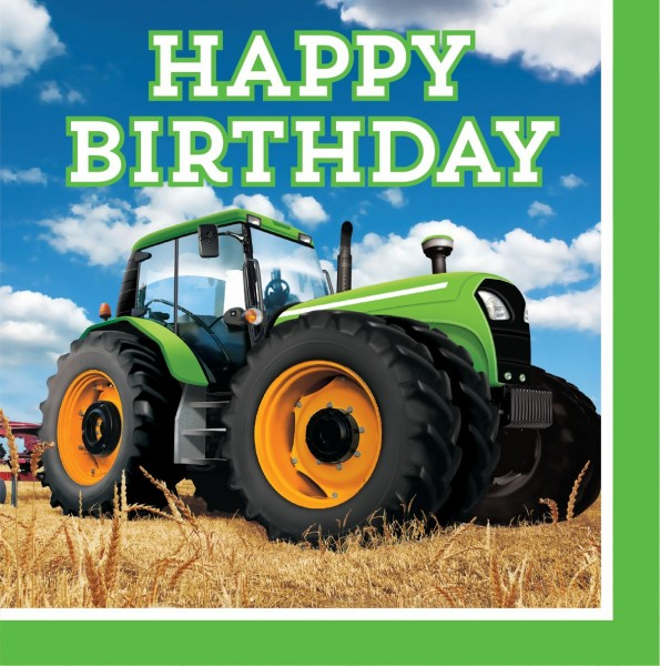 16 Traktor Party Birthday Servietten 33cm