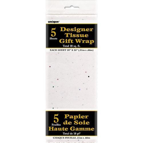 5 sections de papier d'emballage blanc avec des paillettes