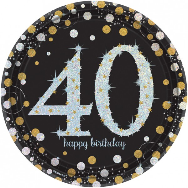 8 golden 40th birthday paper plates 23cm