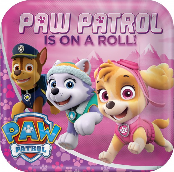 8 Paw Patrol Girls Pappteller 23cm