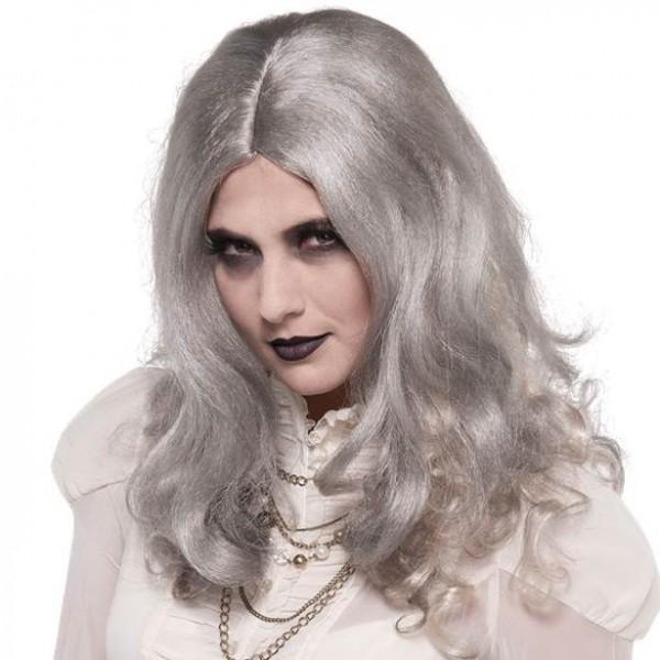 Grå zombie langt hår paryk til kvinder