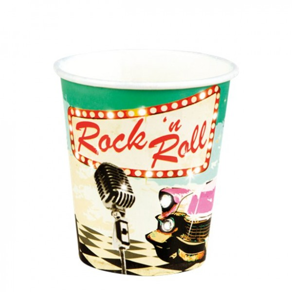 6 Rockin 50s Pappbecher 250ml