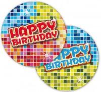 6 Groovy Happy Birthday Untersetzer 18cm
